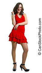 laughing women in red dress