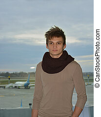 The young man at the airport