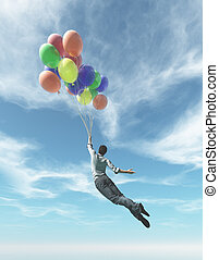 The young man in suit flying with colorful balloons. This is...
