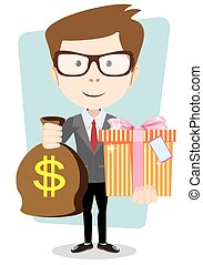 The young man gives a bag with dollars and gift, vector illustration