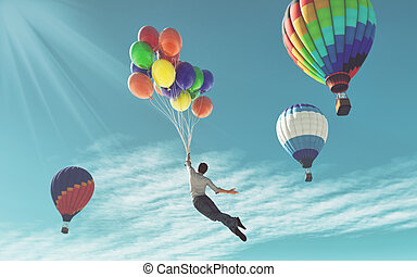 The young man in suit flying with colorful balloons around ...