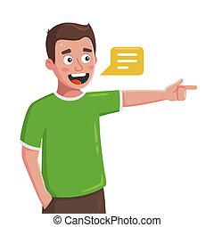 the young man speaks and shows the direction with his finger. flat character vector illustration isolated on white background.