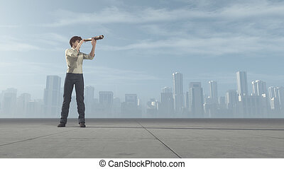 The young man standing on a on road and looking through a...
