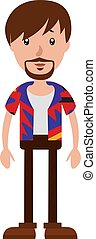 The young man with a colorful shirt illustration vector on white background