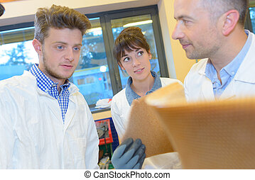 the young people with a material scientist