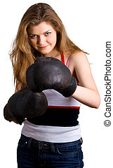 young pretty girl in boxing gloves