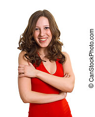 smiling women in red dress