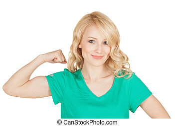 young sport woman showing her biceps
