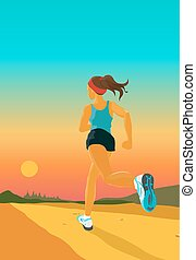 sporty woman jogs in the evening - The young sporty woman...