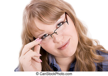 The young woman in glasses