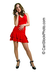 The young women in red dress on a white background. Isolation