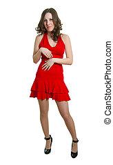 women in red dress