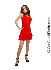 women in red dress on a white