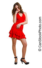 young women in red dress