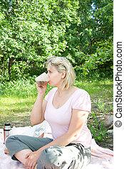 women on picnic