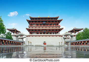 """The Ziyun Tower was built in 727 AD and is the main building of the Datang Furong Garden, Xi'an, China.Translation:""""Datang Furong Garden"""""""