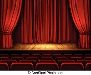 theater, achtergrond, toneel