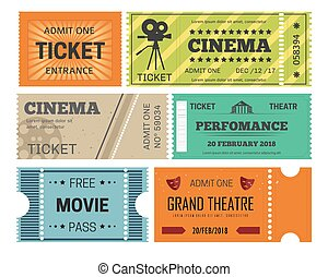 Theater and cinema tickets admission or paper pass isolated...