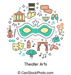 Theater Arts Line Art Outline Vector Icons Set with Mask and Binoculars