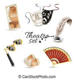 Theater attributes flat pictograms set - Theater production...