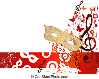 Theater background - Vector illustration of mask and clef on...