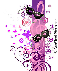 vector illustration of mask and clef on a colorful background