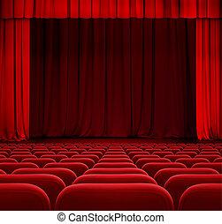 theater, bioscoop, drapes, zetels, gordijn, of, rood