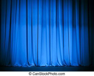 theater, blauw gordijn