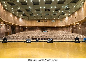 theater, brunnen, lit, sitze, leerer arbeitsstufe