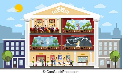 Theater building interior. - Theater city building rooms...