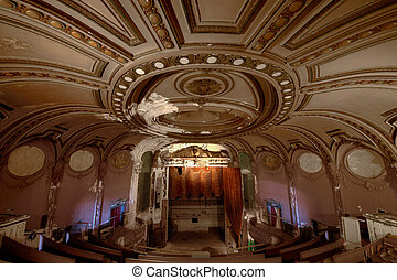 Theater ceiling - Urbex - Art deco abandoned theater, in...