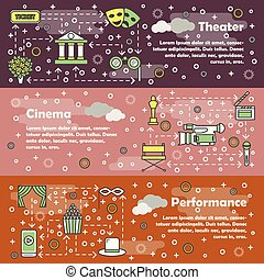 Theater, Cinema and Performance Vector Banner Set
