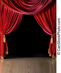 Red velvet theater courtains opened ideal for posting graphic info or images