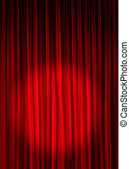A red theater curtain with a spotlight on the lower portion of it leaving room for a title at the top