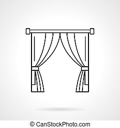 Theater curtain flat line vector icon