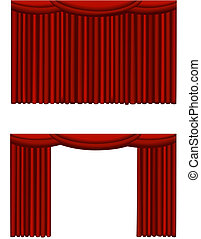 Illustrations of a closed and an opened theatre curtain