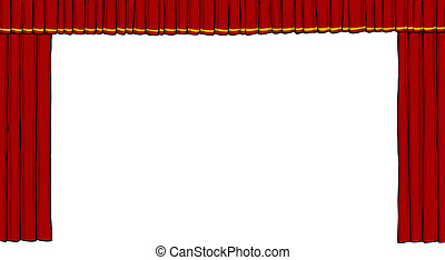 Theater curtain on white background vector illustration