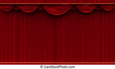 Theater curtain opens - alpha matte - High detail red velvet...