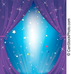Theater curtain - Sparkling theater curtain. Cartoon...