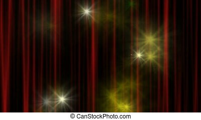 Theater Curtain - Stars in front of a red theater curtain,...