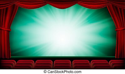 Theater Curtain Vector. Theater, Opera Or Cinema Scene. Green Background. Banner, Placard, Poster Design Template. Realistic Illustration