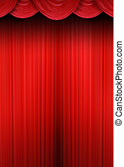 Theater curtains of red cloth - Red curtain of a classical...