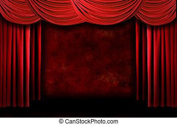 theater drapuje, dramatyczny, oświetlenie, grungy, czerwony, rusztowanie