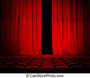 theater, een beetje, zetels, gordijn, open, rood