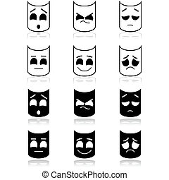 Theater emotion faces - Icon set showing theater faces ...