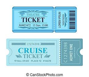 theater, fahrschein, segeltörn, coupon, vektor, illustrationen