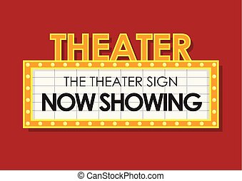 Theater glowing retro cinema sign
