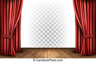 Gordijnen, theater, transparant, vector., achtergrond.