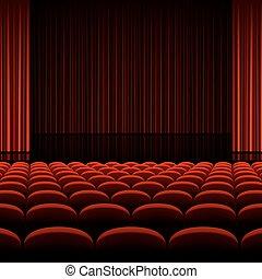 theater, hörsal, mit, buehne