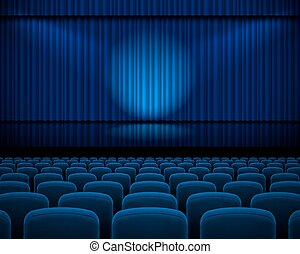 Theater hall - Blue curtain from the theatre with a...